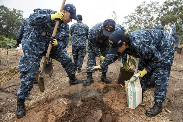 Sailors and students plant and restore during Fleet Week San Diego